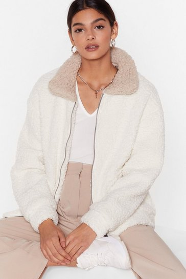 Womens Cream Where Fur We Faux Shearling Jacket