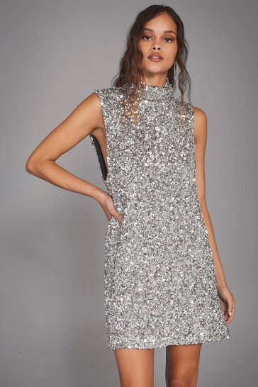 Womens Silver The Beat Goes On Sequin Mini Dress
