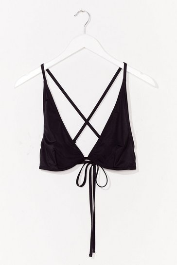 Black Plus Triangle Tie Bikini Top