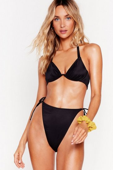 Black Give 'Em a Wave High-Leg Tie Bikini Bottoms