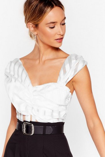 White You're My Stripe Organza Crop Top