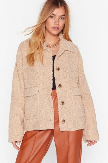Stone Get on Borg With It Faux Shearling Jacket