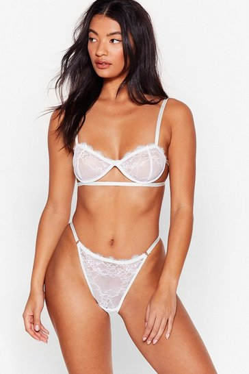 White On the Look Cut-Out Lace Bralette and Panty Set