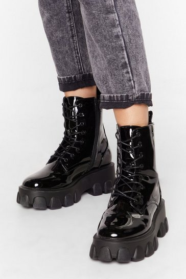 Black Things Just Got Cleated Patent Faux Leather Boots
