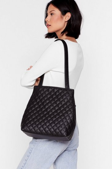 Black WANT Quilty as Charged Clutch and Tote Bag