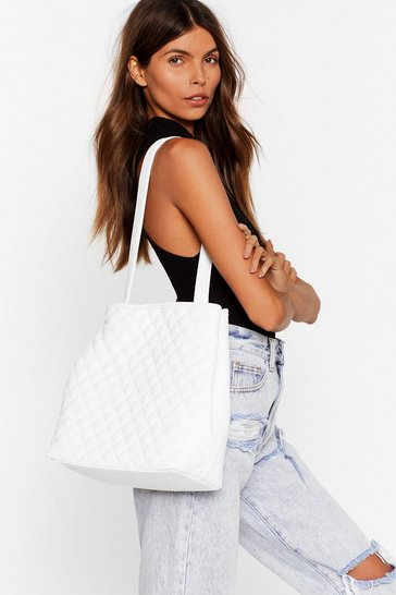 White WANT Quilty as Charged Clutch and Tote Bag