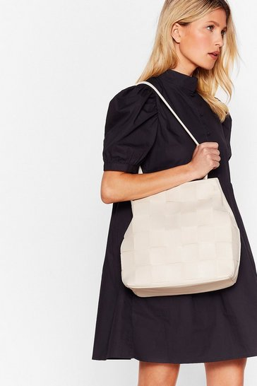 Beige WANT A Woven Success Clutch and Tote Bag