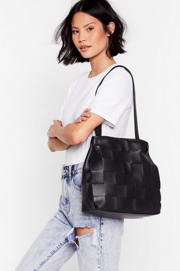 Black WANT A Woven Success Clutch and Tote Bag