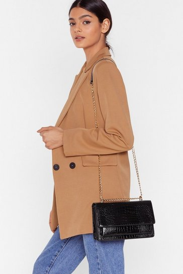 Black WANT Croc Calling Faux Leather Crossbody Bag