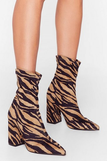 Tan Where the Wild Thing's Grow Tiger Sock Boots