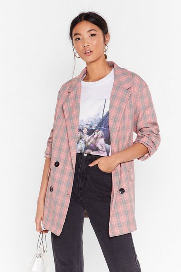Womens Pink Check Her Out Double Breasted Blazer