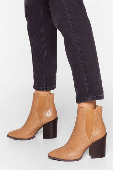 Beige Croc's Not to Love Faux Leather Chelsea Boots