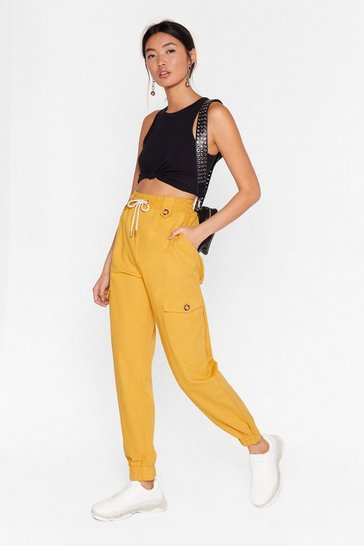 Yellow Before You Cargo High-Waisted Pants