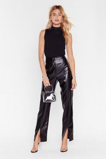 Black Rise Above Slit Faux Leather High-Waisted Pants