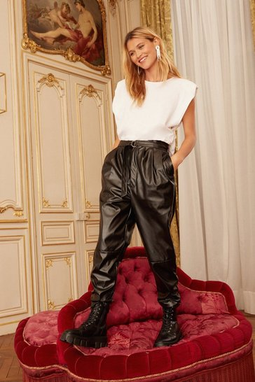 Black Wear the Pants Faux Leather Tapered Pants