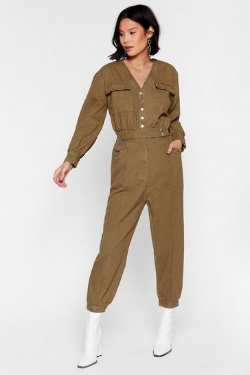 Olive Denim Utility Boilersuit with V-Neckline
