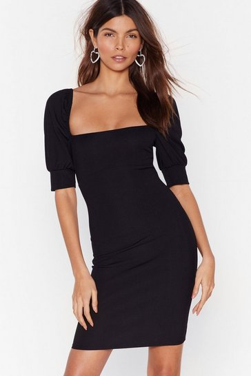 Black Right Square You Belong Puff Sleeve Mini Dress