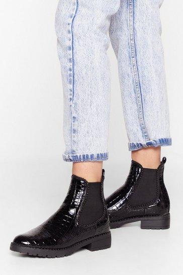 Black You Croc Potential Patent Faux Leather Chelsea Boots