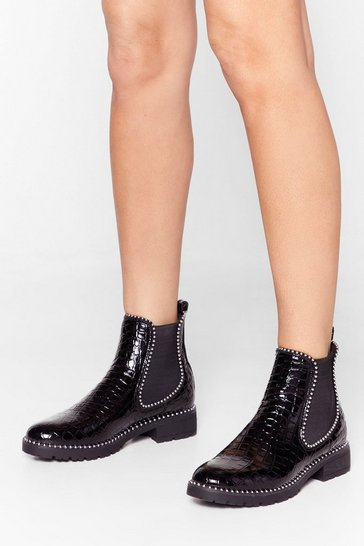 Black Go Kiss Ass Studded Chelsea Boots