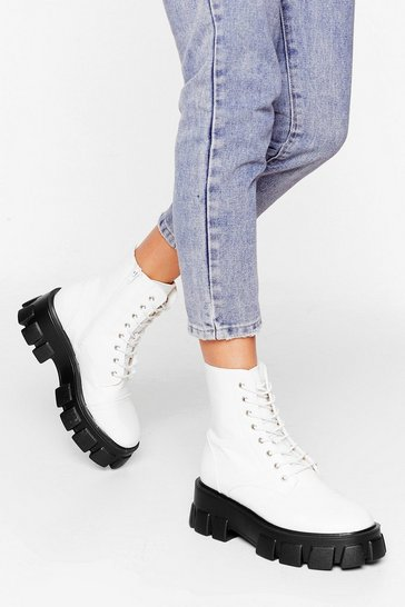 White Admit De-cleat Wide Fit Faux Leather Boots