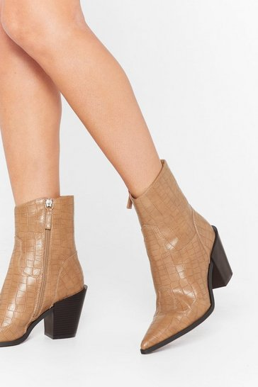 Beige Skip to the West Part Faux Leather Croc Boots