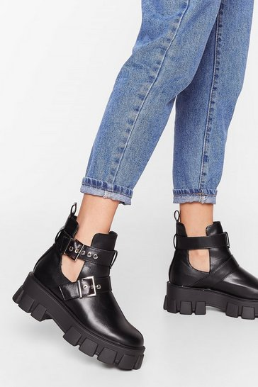 Black Stand Cut-Out Faux Leather Cleated Boots