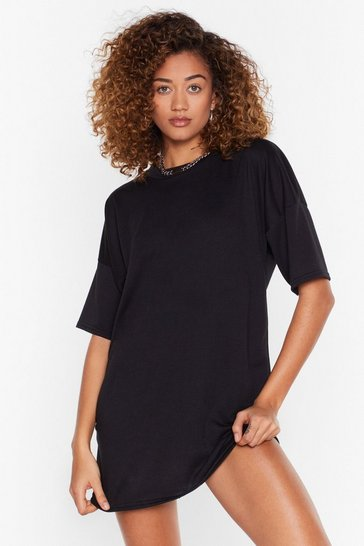 Black Recycled Between You and Tee Mini Dress