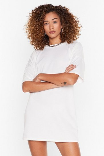 Cream Recycled Between You and Tee Mini Dress