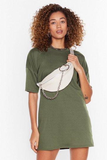 Khaki Recycled T-Shirt Mini Dress