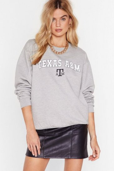 Grey Everything's Bigger in Texas Graphic Sweatshirt
