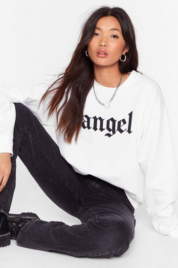 White Ain't No Angel Relaxed Graphic Sweatshirt
