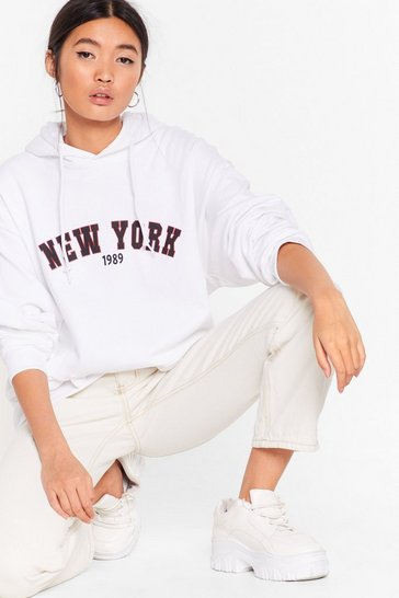 White Left My Heart in New York Graphic Hoodie