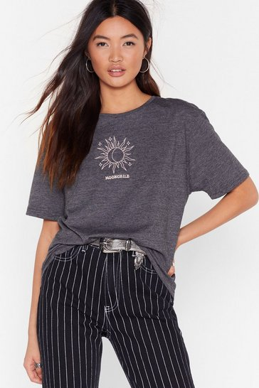 Womens Charcoal Stay Wild Moon Child Graphic Tee