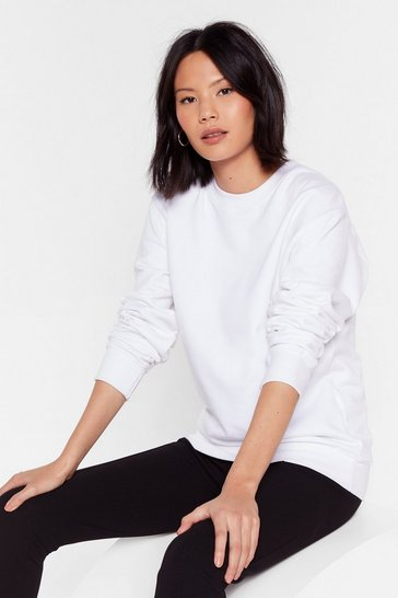 White Workin' Up a Sweat Relaxed Sweatshirt