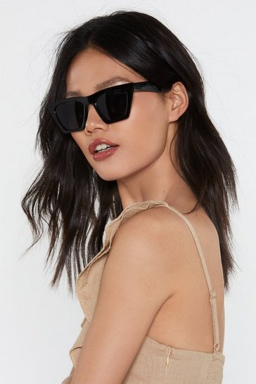 Black No Paparazzi Square Sunglasses