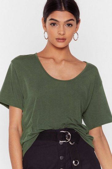 Khaki Recycled Get the Scoop Fitted Tee