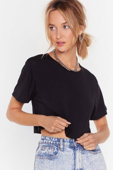 Black Recycled To Crop It Off Jersey Tee
