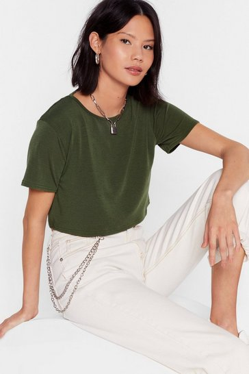 Khaki Recycled To Crop It Off Jersey Tee