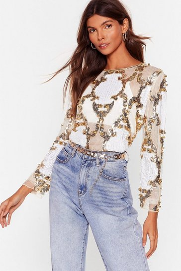 White Play to Sequin Embellished Mesh Blouse