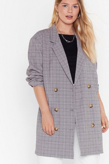 Womens Grey Well Check You Out Plus Longline Blazer