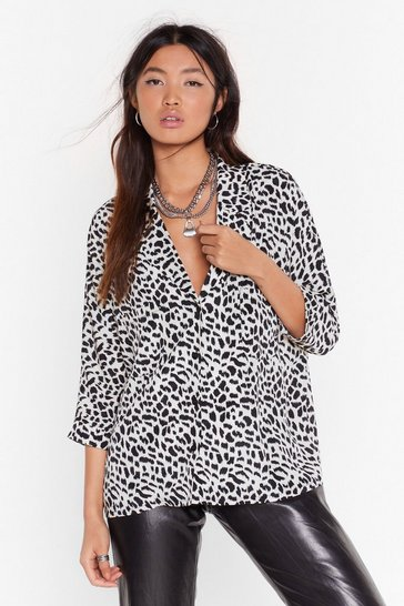White Wild Young Hearts Satin Animal Shirt