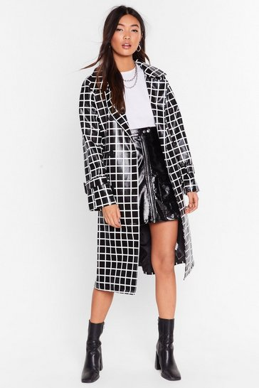 Black Belted Trench Coat in Vinyl with Check Print