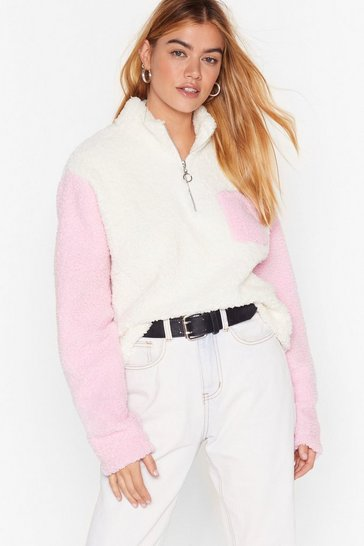 Rose New Kid on the Colorblock Faux Shearling Sweater