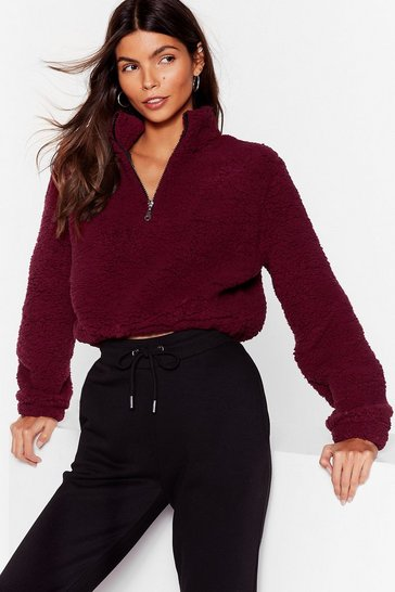 Berry Zip or Miss Faux Shearling Cropped Sweater