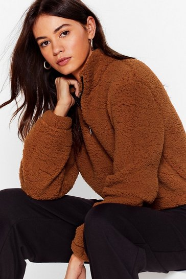 Rust Zip or Miss Faux Shearling Cropped Sweater