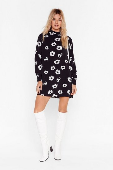 Black Get Down Tonight Floral Mini Dress