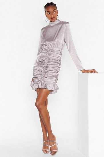Silver Chasin' the Ruche Satin Jacquard Dress