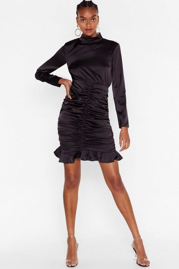 Black Chasin' the Ruche Satin Mini Dress