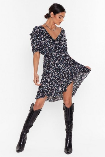 Black Floral Mini Dress with Puff Sleeves