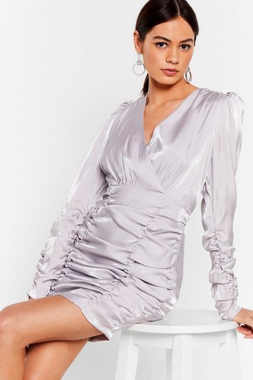 Ivory It's Your Shine Ruched Mini Dress